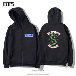 Wholesale comfortable men s hoodies - BTS Riverdale Hoodies Sweatshirts Men Women Zipper Casual Hipster Brand Comfortable Printing Long Hoodie Women Zipper Fashion