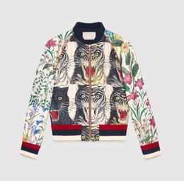 Wholesale Slim Jumper - New 2018 Italy Luxury Brand jacket long sleeve ladies jacket windbreaker jackets Tiger printing Female Short Coat Casual Loose jumper