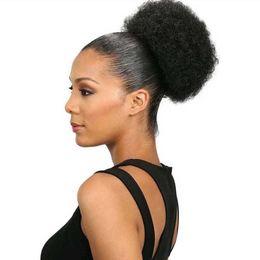 großhandel synthetischen haar brötchen zubehör Rabatt Natürlicher Pferdeschwanz Afro Short Kinky Curly Wrap Kordelzug Haarspangen im Haarknoten