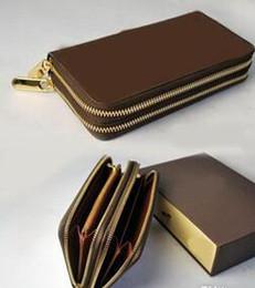 Wholesale money double - 2018 New Famous Designer Luxury Brand Original Genuine Cow Leather Wallets Men Women Long Purses money Bags Double Zipper Pouch Coin Pockets