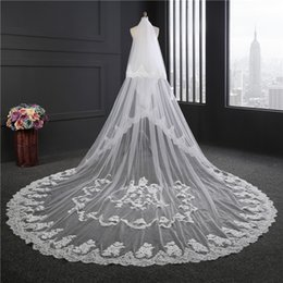Wholesale Real Trim - New Arrival Two Layers 3.5M Long Cathedral Wedding Veils With Lace Applique Trim Soft Tulle Real Image Cheap Bridal Veil