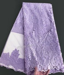 Argentina lila lila 5 yardas brillan tela de encaje neto francés tela de encaje tul africano con piedras grandes 6280 Suministro