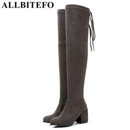 Altezza del tallone ALLBITEFO 3cm / 5cm / 8cm Scarpe da donna al ginocchio sopra il ginocchio cheap shoes high heels fashion 3cm da i pattini tallonano il modo 3cm fornitori