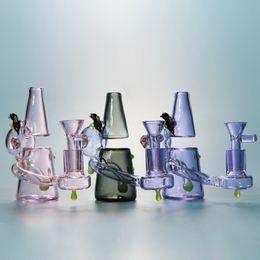 Pequenos tubos on-line-Heady vidro Dab Rigs 5 polegadas pequeno Recycler Bongs Mini Dab Rig 4 mm de espessura de vidro Bong Bong Tubo Reto Com 14 milímetros Glass Bowl