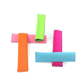 Wholesale wholesale plastic sleeves - Wholesale Popsicle Holders Pop Ice Sleeves Freezer Pop Holders 15x4.2cm for Kids Summer Kitchen Tools 10 color