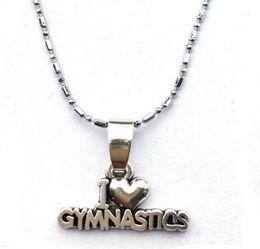 10pc / lot I Heart Gymnast Gift Gymnastics Necklace - Ginnastica Classe Girls Gift Performance Lovers nuovo arrivo vendita calda drop shipping top supplier gymnastic gifts da regali ginnastici fornitori