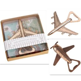 Wholesale Alloy Stock - 2 style Airplane Bottle Opener Antique Plane Shape Beer Opener Wedding Gift Party Favors Kitchen Aluminum Alloy Airplane Openers