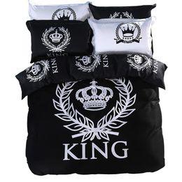 Burgundische bettwäsche setzt könig online-Royal Bedding Set Print Bettwäsche Double Single Queen King Size 100% Baumwolle BlackWhite Series Sheet