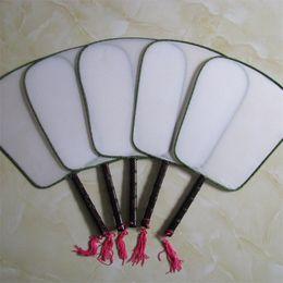 Weiße lüftergriffe online-DIY Blank White Silk Hand Fans Mit Griff Student Kinder Hand Malerei Fine Art Programme Chinesische Vintage Runde Fan 1 6xx Z