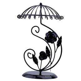 Canada Noir Métal Parapluie Fleur En Forme De Coeur 24 Trous Boucle D'oreille Stand Pendentifs Titulaire Collier Bijoux Présentoir Plateau De Mode Vitrine Rack Offre