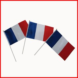 Wholesale Flag Pole Wholesale - France flag free shipping,small size flag wholesale with plastic pole,14*21cm polyester fabric France nation flag