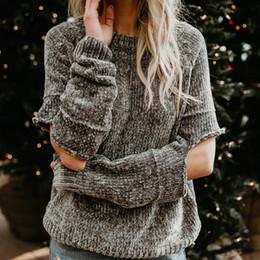 Wholesale Ladies Gray Sweater - Women Casual Chenille Sweater Hole Knitted Pullovers Female Gray Boyfriend Style Ladies Knitwear Pull Femme Women Loose Sweater