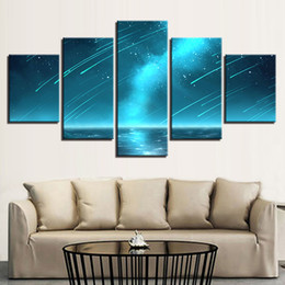 Wholesale abstract sky painting canvas - Canvas Pictures Framework Modular 5 Pieces Meteor And Beautiful Starry Sky Landscape Paintings Decor Room Modern Prints Art Wall