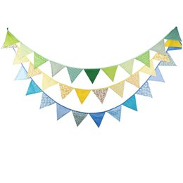 tessuto bandiere Sconti 3 pz / lotto 12 Bandiere - 3.2 M Bandiere in tessuto di cotone Blue Bunting Decor Baby Shower Ghirlanda Bambini Birthday Party Decoration bunting