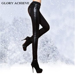 6c9cece2d3 BLACK SEXY!Fashion Winter pants Woman Faux Leather Trousers With Veet  Thicken Casual Legging Show Thin Skinny Pencil Pants