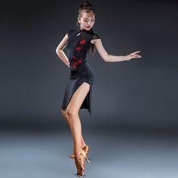 Wholesale Flapper Style - Latin Dance Dress Women Salsa Flapper Samba Dress Tango D0084 Elegant Cheongsam Style Black with Split Hem Embroidered Flowers