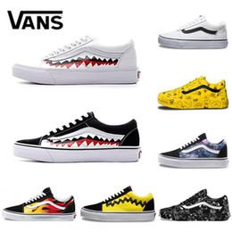 766bdf003899 Chinese Vans Old Skool Men women Casual shoes Rock Flame Yacht Club  Sharktooth Peanuts Skateboard Canvas