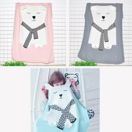 Wholesale Fox Bedding - Cartoon Bear Fox INS Baby Blanket Throw on Sofa Bed Knitted Thread Blankets For Newborn Children Kids Swaddle Sleeping Mat 10pcs OOA3976