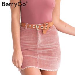 Wholesale Zipper Pencil Skirt - BerryGo Corduroy pink pencil skirts womens Vintage streetwear metal button zipper short skirt 2017 New autumn mini skirt