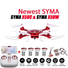 Wholesale Helicopter Landing - Newest SYMA X5UW & X5UC Drone 720P WIFI FPV With 2MP HD Camera Helicopter Height Hold One Key Land 2.4G 4CH 6Axis RC Quadcopter