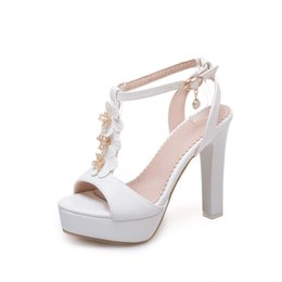 Tipos de sandália on-line-TMLH75-502H25Summer plataforma tipo T Buckband impermeável super salto alto flor de cristal sandálias banquete de casamento