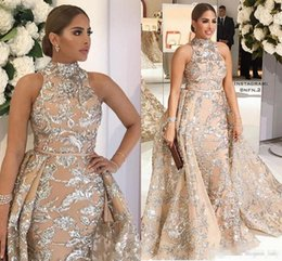 Wholesale womens short jacket black - 2018 New High Neck Prom Dresses Sleeveless with Detachable Train Luxury Shiny Lace Applique Womens Evening Pageant Gown Plus Size Sash
