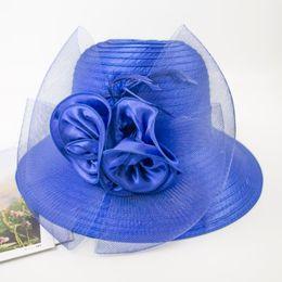 Vestidos derby florales online-kentucky derby hat church hat 2018 Nuevo corte floral de organza Kentucky Derby Vestido Formal Ladies Hat elegante y elegante para damas EPU-MH1887