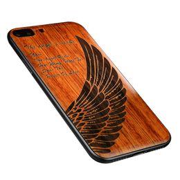2019 capas de madeira esculpidas Atacado de Madeira Escultura Leve Criativo Phone Case para X 7/8 7/8 Mais Tradicional Escultura Em Madeira Combinar com A Tecnologia Moderna capas de madeira esculpidas barato