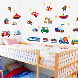 Wholesale Wall Decals For Kids - Sweet Home Train Car Truck Helicopter Bus Removable Wall Sticker Decal Boy Kids Room Decor Home Decoration Wall Paper