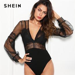 d27445e80f SHEIN Black Sexy Elegant Plunge Neck Lace Insert Sheer Mesh Puff Sleeve Mid  Waist Bodysuit Summer Women Going Out BodysuitsX82301