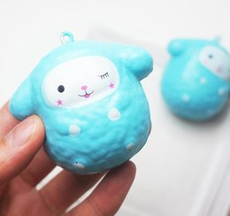 Wholesale Funny Kids Gifts - Squishy Cartoon Sheep Blue Slow Rising Sheep Pendant Squeeze Cute Cell Phone Strap Small Animal Doll Funny Kids Toy Gift AAA142