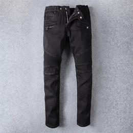 Calça jeans para homens on-line-Calças de brim dos homens de Balmain Slim Fit calças de brim rasgadas homens Hi-Street Mens corredores de sarja de Nimes afligidas furos de joelho Washed Jeans destruído