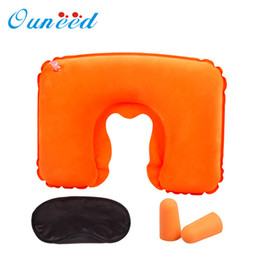 Wholesale hot water pillow - Wholesale- Happy Sale hot selling 2016 Inflatable Travel Pillow Air Cushion Neck U-Shaped Compact Plane Set Jun27
