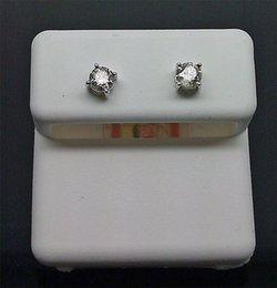 Wholesale Mounted Stud Earrings - 14K White Gold Earrings With 0.40CT of Round Cut Diamond .50CT mounting