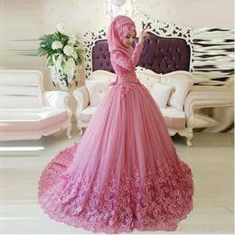 Wholesale Fashion Turkish Dresses - Arabic Muslim Pink Evening Dresses Turkish Gelinlik Lace Applique Ball Gown Islamic Bridal Dresses Vintage Long Sleeve Party Gowns BA5107