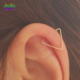 aros de plata y cobre Rebajas Venta enteraNew Brief Gold / Silver Copper e Hoop Pendientes para mujer Punk Unisex Ear Cuff Bijoux Body Jewelry