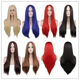 Parrucca cosplay lunga 70 centimetri per le donne Parrucca rossa per capelli sintetica bionda 100% ad alta temperatura da