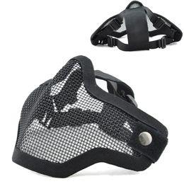 Maschera di maglia airsoft online-Tactical Mezza faccia Metal Net Mesh protettivo esterno 2G Airsoft Mask regolabile con cinturino elastico per tiro paintball da caccia