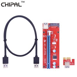 Wholesale Pci Interface Cards - CHIPAL VER007S 60CM PCI-E 1X to 16X Riser Card Extender PCI Express Adapter+USB 3.0 Data Cable&15Pin SATA Molex Power Interface