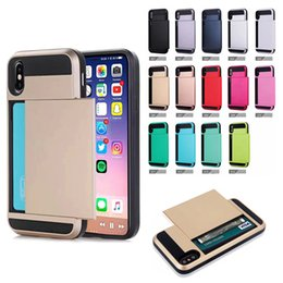 Wholesale Iphone 5c Armor Case - Top Quality Dual Layer Card Slide Case Hybrid Armor Case For iPhone X 8 7 6 Plus 5 SE 5C Samsung S8 S7 Plus S5 Note8