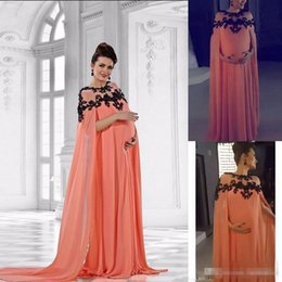 Wholesale Nude Dress Empire Waist - 2018 New Middle East Chiffon Evening Dresses for Pregnant Long Cape Sleeves Black Lace Applique Maternity Dress Gown Empire Waist Train