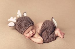 Wholesale Newborn Photography Outfits - Baby Outfits Deer Newborn Photography Accessories Handmade Crochet Baby Beanie Hats And Pants For Photo Props Baby Photography