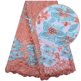 Bordado, laço, jarda on-line-5 metros / lote de alta qualidade Nigeriano Francês Lace bordado Tulle Lace tecido para vestido de noiva 2018 tecido de renda Africano 1267