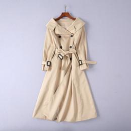 Европейская и американская женская одежда 2018 новая зима чистый цвет пояс с длинным рукавом отворот шеи пальто платье 18-0901-02 cheap long sleeve trench dress от Поставщики платье с длинным рукавом