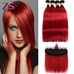 ZSF Ombre brasiliane di vendita diritte calde del tessuto dei capelli umani con i pacchi frontali 3or4 1B estensioni rosse dell'ombrello con 13 * 4 Frontal Hair da