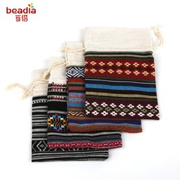 Wholesale Cloth Jewelry Bags Pouches - 5pcs Bag 11x16cm Bohemian Ethnic Wind Cotton Cloth Pocket Orange Square Lattice Four Grid Black And White Stripes Beads Jewelry