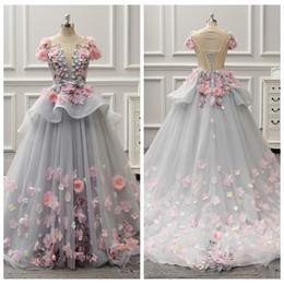 Wholesale peplum flower girl dresses - 2018 Sheer Colorful Ball Gown Girl's Pageant Dresses Spring Summer Light Gray Flora Appliques Evening Gowns Lace Up Back Peplum Party Wear