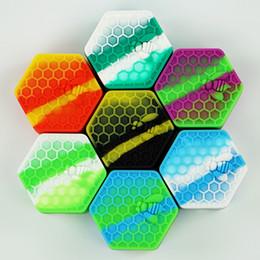 2019 gabarit de bobine de vapotage 5pcs / lot abeille à miel hexagone Silicone Container Pots Container Silicone Container Pour Oil Crumble Honey Cire Silicone Pots