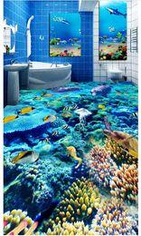 Wholesale Vintage Toilets - Wholesale-Custom Photo Floor Wallpaper Dazzling underwater world dolphin toilet bathroom bedroom 3D floor Self-adhesive Floor decor Painting