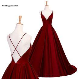 rosa vermelha menina sexy Desconto 2019 Simples Azul Royal Vestidos de Baile Cetim Espaguete Borgonha Vestidos de Noite de Volta Sexy formal vestido de festa vestido de festa